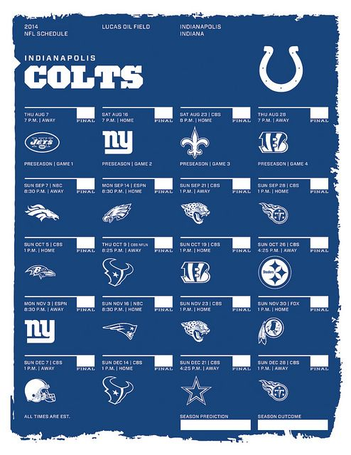 Indianapolis Colts 2014 NFL Schedule I love the things he makes! the NFL and NHL schedules for 2014 aren't up but last year's were amazing! I printed and framed for the basement.