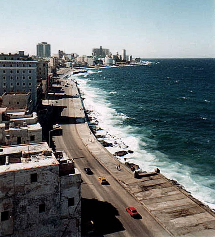 (above) ElMalecónde la Habana—TheMalecón—in good weather.The sea-wall on TheMalecónon a typical day: Along the north side of Havana, facing the Caribbean and the often-cited ninet…