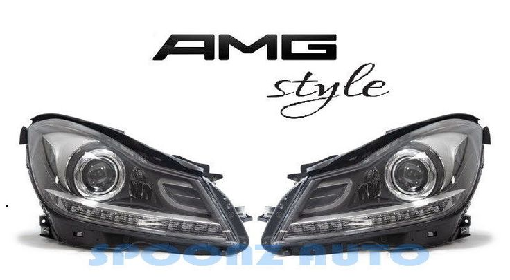Awesome Great 2012-2014 MERCEDES BENZ W204 C CLASS C63 AMG STYLE LED HEADLIGHTS BLACK - SET 2017 2018
