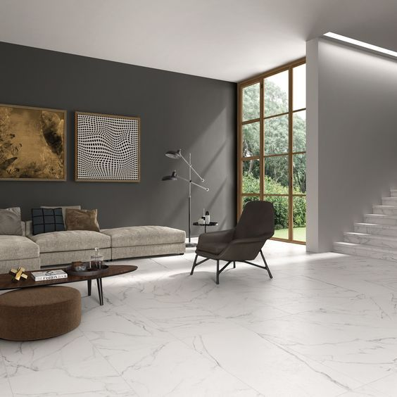Living Room Flooring Ideas: White Tile Floor Living Room In 2019