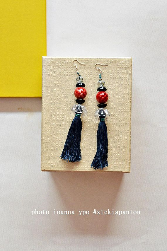 Shoulder sweep dangle  earrings, Mothers day gift, Statement jewelry, Royal blue long tassel earrings, graduation gift for best friend  #stekiapantou #ioannaypo #thessaloniki #dangleearrings #bohoearrings #statementearrings #beadedearrings #royalblue #mothersdaygift #tasselearrings #bluetassel #etsyjewelry