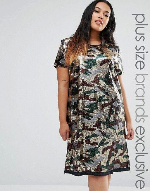 Liquor & Poker Plus | Liquor & Poker Plus Sequin Oversized Dress In Camo Print