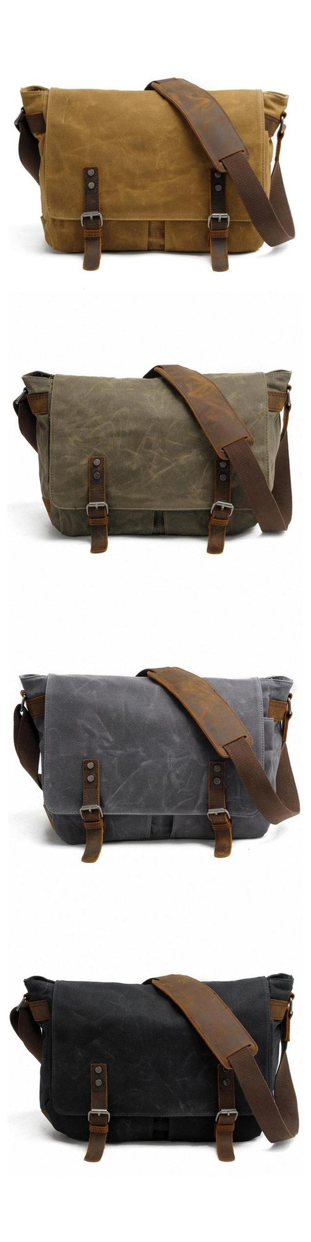 """Vintage canvas messenger bag for a classy look, made of high-quality waterproof canvas and leather. Many compartments inside and outside allow you to keep everything in order and protect your belongings. Great messenger bag for school, college, work or everyday use. A 14"""" laptop will easily fit.  This awesome bag is available in four trendy colors - khaki, black, green and gray."""