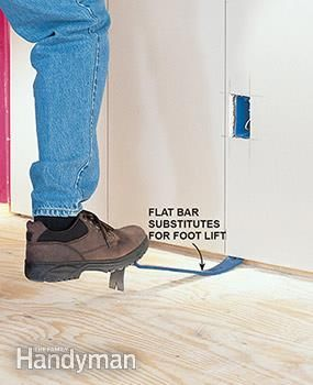 You can also use a flat bar as a lever when you're hanging drywall.