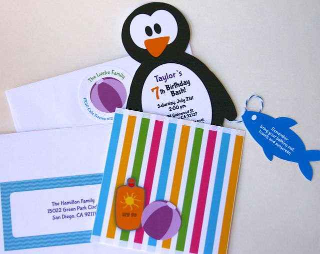 Cute penguin pool party invitation #invitation #penguins