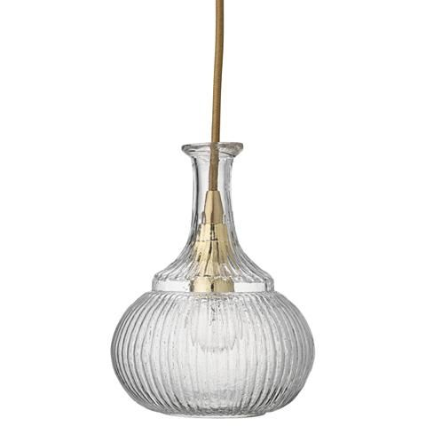 """Oliva 6 1/2"""" Wide Clear Glass with Brass Mini Pendant"""