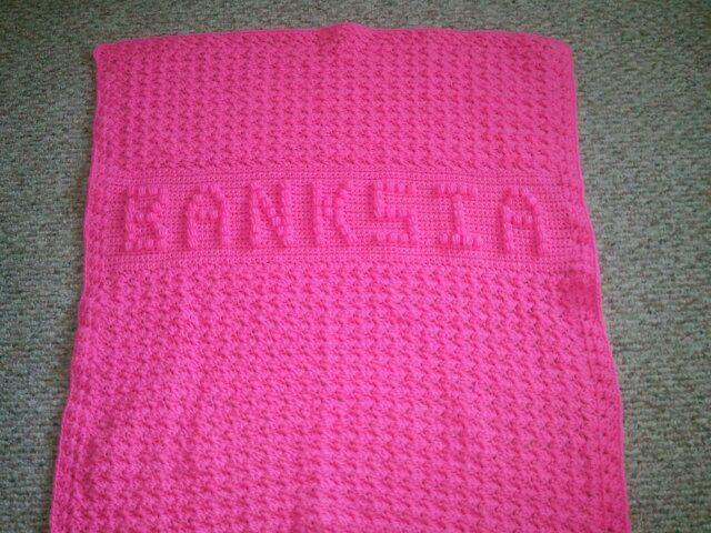 Baby Afghan With Baby S Name Done In Bobble Stitch