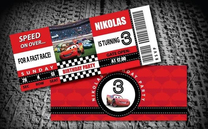 Invitation for a disney cars themed birthday party #carspartyinvitation #supplies #party #lightningmcqueen