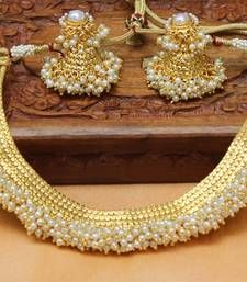 Buy Designer Gold Plated pearl Necklace south-indian-jewellery online at, http://www.mirraw.com/designers/urshi-collections/designs/designer-gold-plated-pearl-necklace-south-indian-jewellery