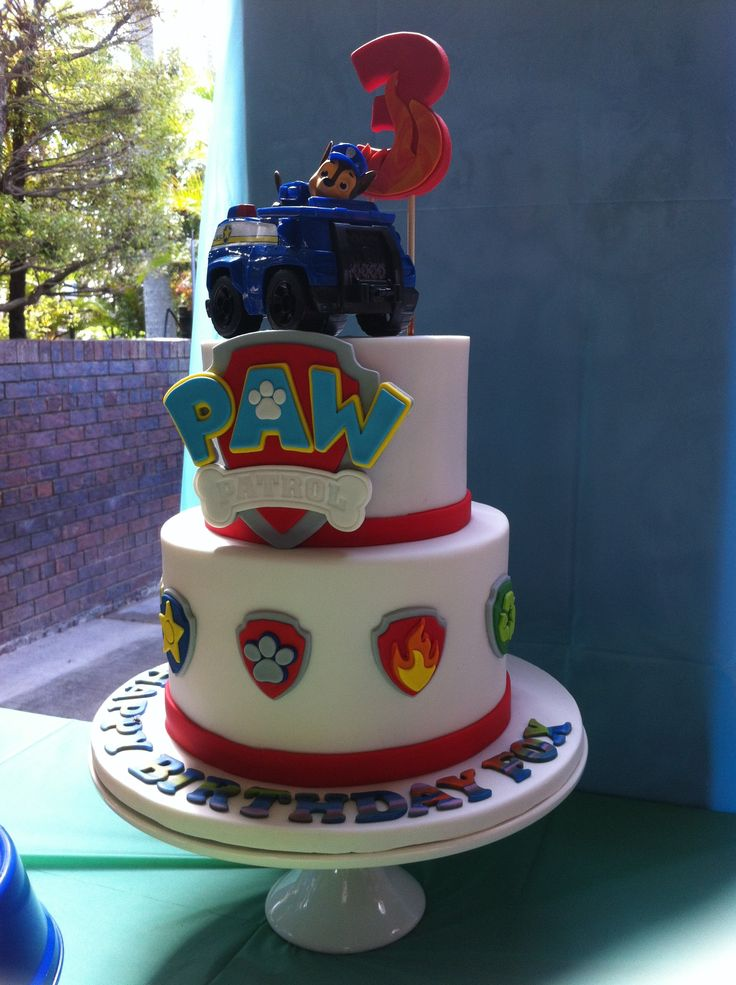 2 Tier Choc Mud Paw Patrol 3rd Birthday Cake.