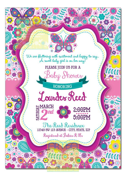 Butterfly Baby Shower Invitation, Butterflies and Flowers Baby Shower Invitation, pink purple teal Butterfly Baby Girl Shower, garden baby by artisacreations on Etsy https://www.etsy.com/listing/233647711/butterfly-baby-shower-invitation