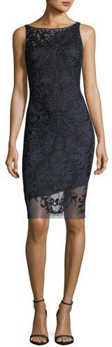 Aidan Mattox Sleeveless Beaded Embroidered Sheath Cocktail Dress