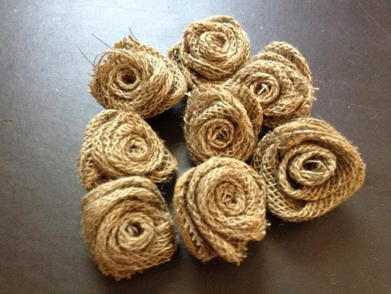 Handmade Burlap Rose $1.50 each. Perfect for rustic shabby chic wedding decor, bouquets, boutineeres & brooches.