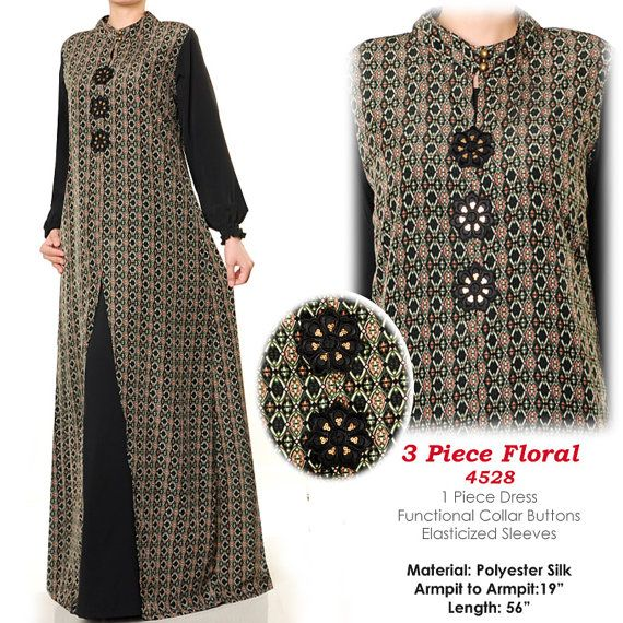 3 Floral Summer Abaya Muslim Islamic Long Sleeves by MissMode21
