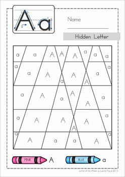 Phonics Letter of the Week BUNDLE 1 - 430 pages. A comprehensive bundle for teaching letters A, B, C, D, E. There are 29 games, activities and worksheets for each letter. A page from the unit: color by code to reveal the hidden letter!