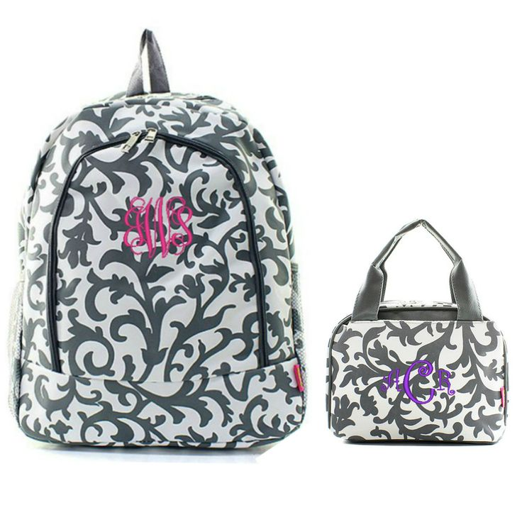 Matching Floral Gray Personalized Kids Backpack & Lunch Bag Set