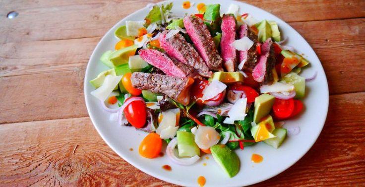 Entrecote salade met sinaasappel-zwartepeperdressing - Voor Spek en Bonen