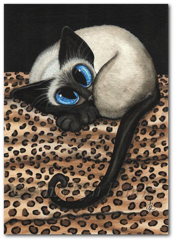 Siamese Cat Leopard Cat Nap  Art Prints & ACEOs by by AmyLynBihrle, $8.99