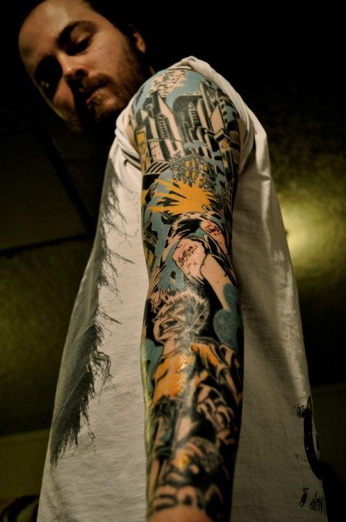 comic tattoo, cool color combo