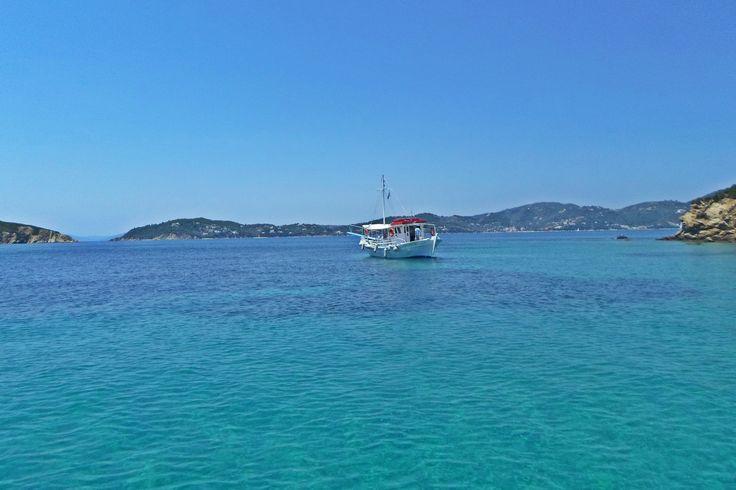 #boat #beach #clearwater #bluesky #summer #sea #island #greece #travel