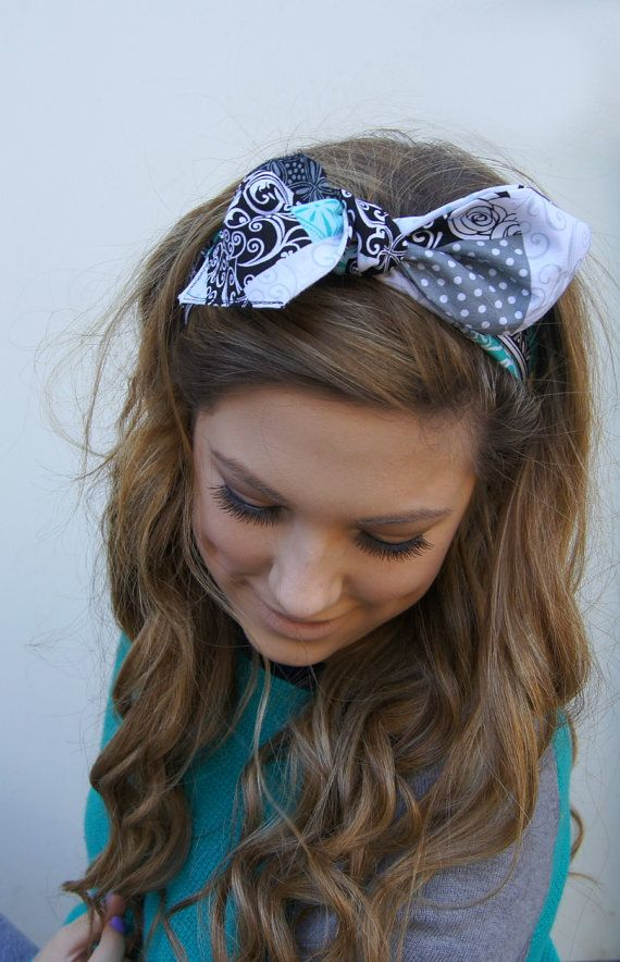 Dolly Bow Headband Rockabilly PIN UP Bandana Fabric by Nachibands, $12.00