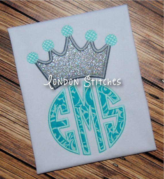 Monogrammed girls princess tiara tee t shirt by
