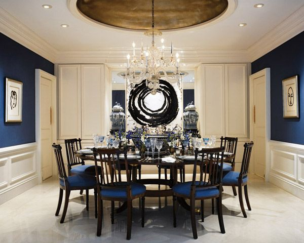 Dining room navy blue walls can talk pinterest for Navy dining room ideas