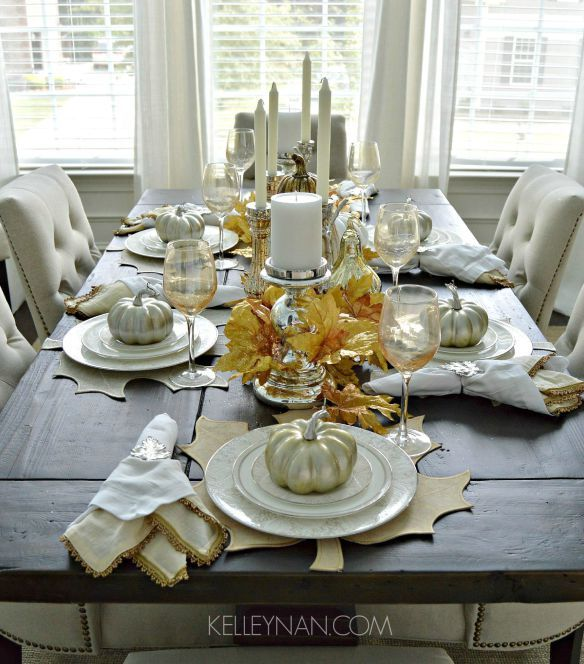 Creating a fall tablescape with gold silver and white