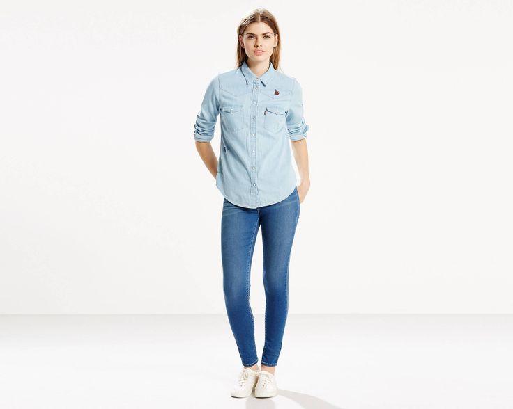 Nous avons revisité la chemise Western en la dotant de détails contemporains. Elle possède une coupe classique, un empiècement discret et une fermeture à boutons-pression.