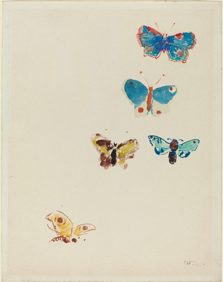 "inland-delta: "" Odilon Redon, Five Butterflies c. 1912 """