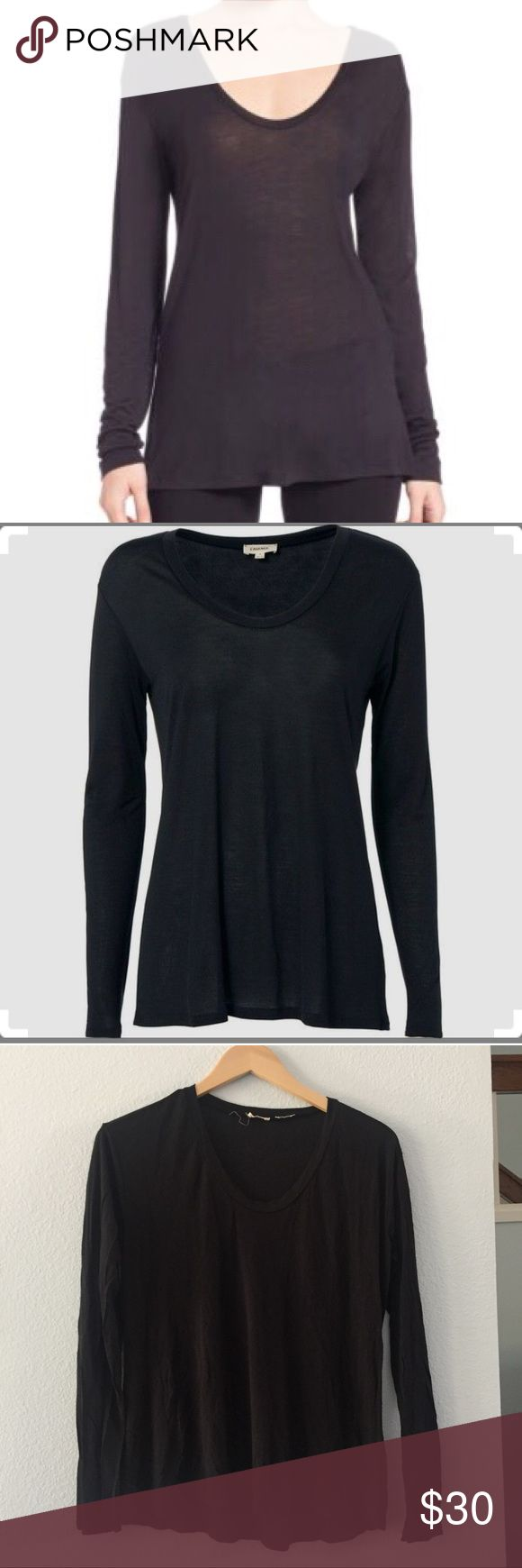 """L'AGENCE modal scoopneck top Versatile pullover in super-soft jersey, Scoopneck, Long sleeves, Pullover style, About 27"""" from shoulder to hem, Modal, Dry clean, Imported, Model shown is 5'10"""" (177cm) wearing US size Small., ; BLACK. [16] L'AGENCE Tops Tees - Long Sleeve"""