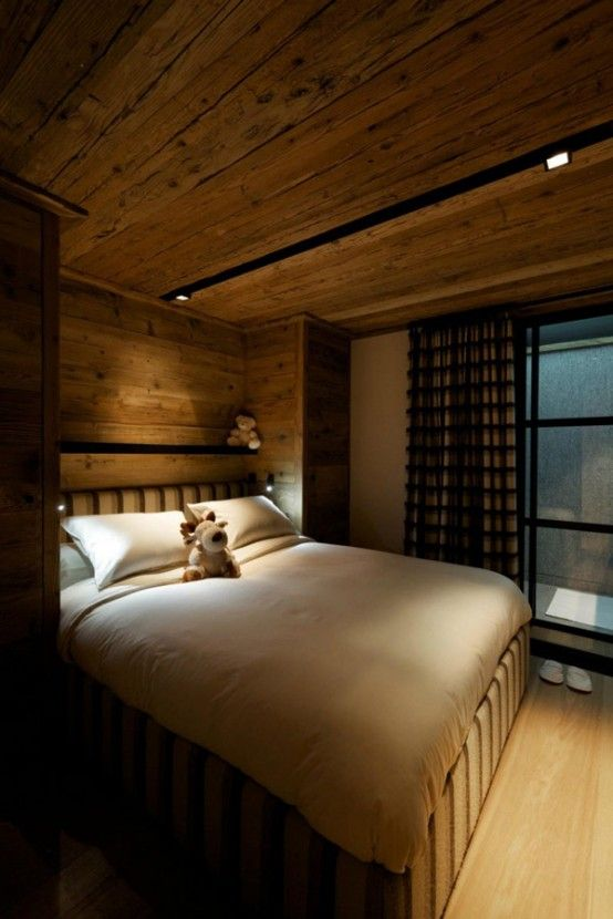 Bo Design Envisioned The Sophisticated Chalet Cyanella In The French Alps  With A Wodden Bedroom.