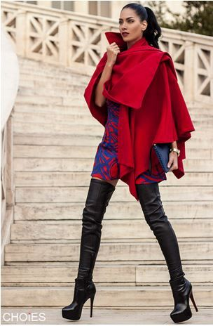 Love this Poncho! Red Irregular Couture Style Woolen Poncho With High Neck #Red #Irregular #Couture #Style #Woolen #Poncho #Fall #Winter #Fashion