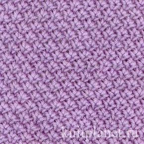 Тканевый узор Для образца узора на спицы набирают четное число петель. 1 ряд: * из 2 петель образуют 2 петли следующим образом: две петли вместе вяжут изнаночной петлей, затем, не снимая 2 петли с левой спицы, их же провязывают лицевой; 2 и 4 ряд: все петли изнаночные; 3 ряд: 1 лицевая петля, * вяжут из 2 петель - 2, таким же образом, как и в 1 ряду *, 1 лицевая. Далее узор повторяют с первого ряда.