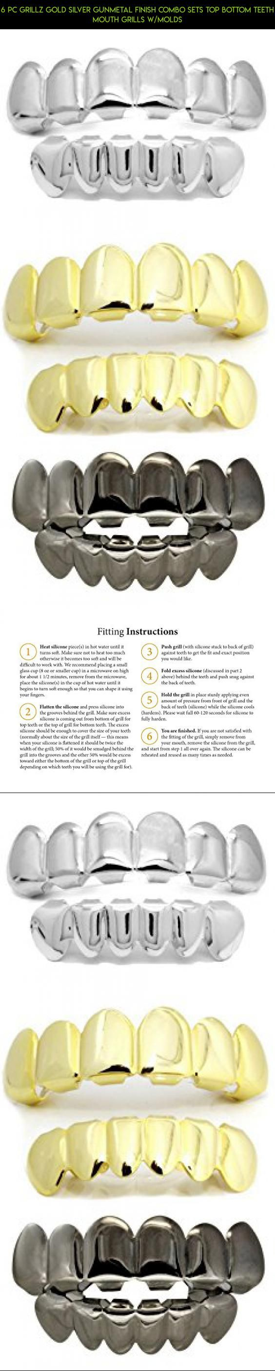 6 pc Grillz Gold Silver Gunmetal Finish Combo Sets Top Bottom Teeth Mouth Grills w/Molds #camera #shopping #gadgets #kit #drone #fpv #products #parts #racing #technology #plans #gold #grills #tech