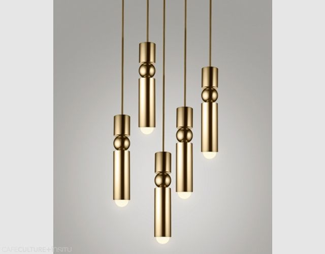 FULCRUM LIGHT BY LEE BROOM - Looking snazzy! Continuing the exploration of pivots and supports, the Fulcrum light is a slimline pendant of brass or chrome cylinders suspended around a central sphere.