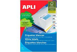 Caja de 100 etiquetas adhesivas blancas DIN-A4  desde 9,67€: http://www.asturalba.com/consumibles/etiquetas/etiquetas.htm