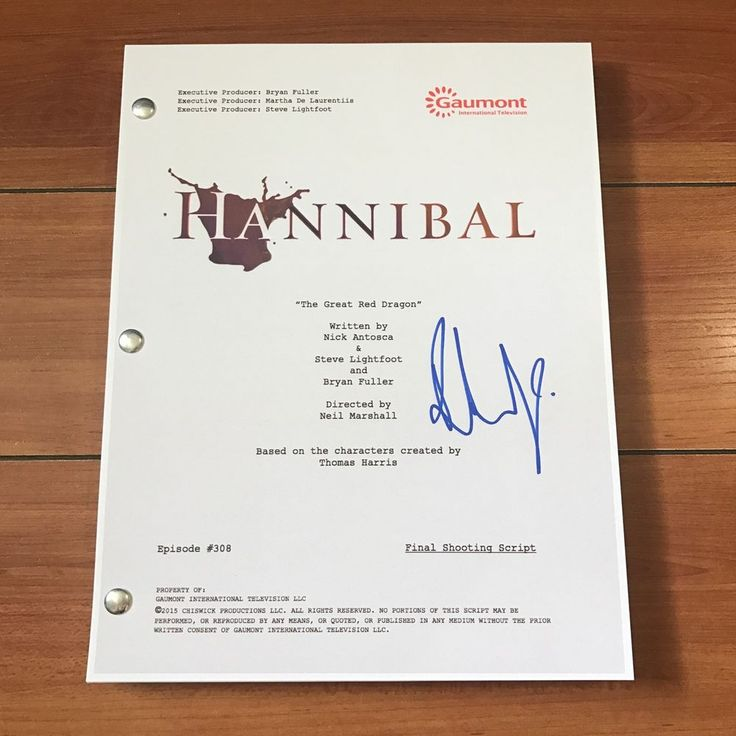 """RICHARD ARMITAGE SIGNED HANNIBAL SERIES FINALE SCRIPT """"THE GREAT RED"""" w/ PROOF"""