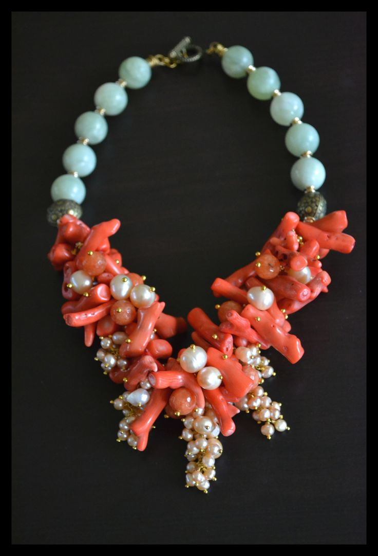 Custom made Coral Necklace with Butter jade stones and fresh water pearls