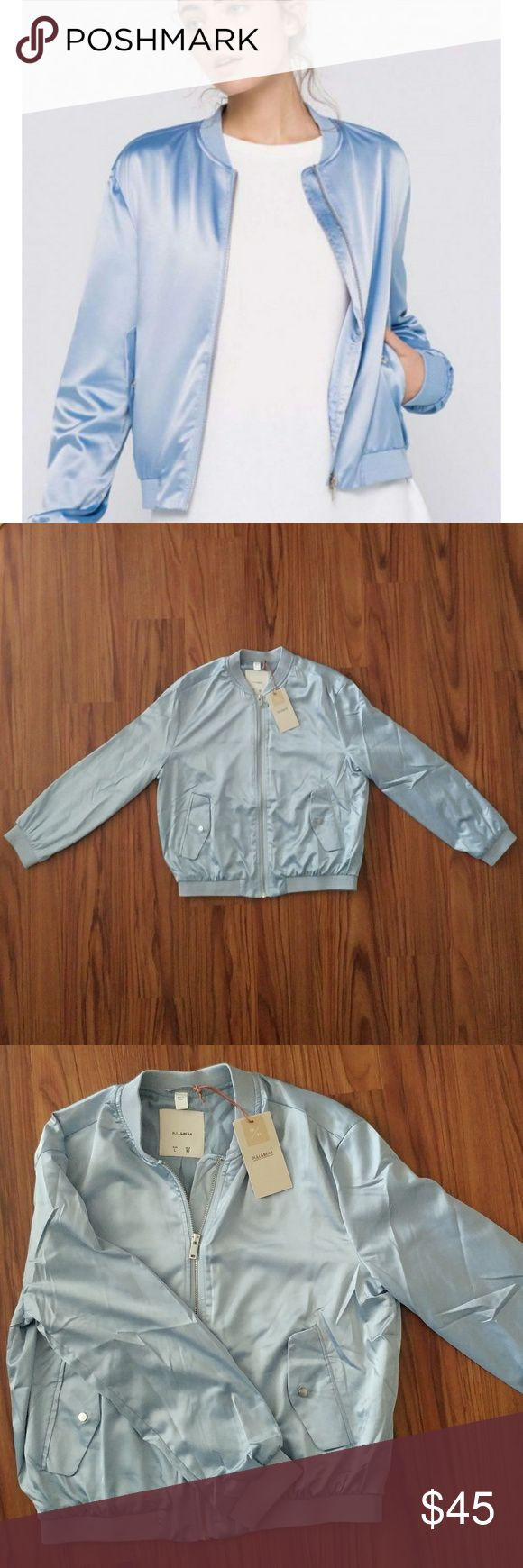 Pull and Bear ice blue bomber Pull and Bear ice blue silk bomber jacket. New with tags, never been worn. Lining 100% viscose, exterior 96% polyester and 4% elastane. Lightweight. Pull and bear is a sister company to Zara. Pull&Bear Jackets & Coats