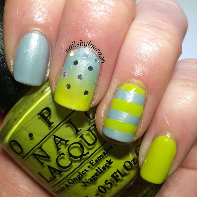 Green and Grey Nail Art