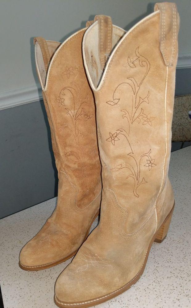 bc9ba0c9a1f Vintage WOLVERINE Cowboy Boots Womens Size 8.5 Suede Nubuck Western ...