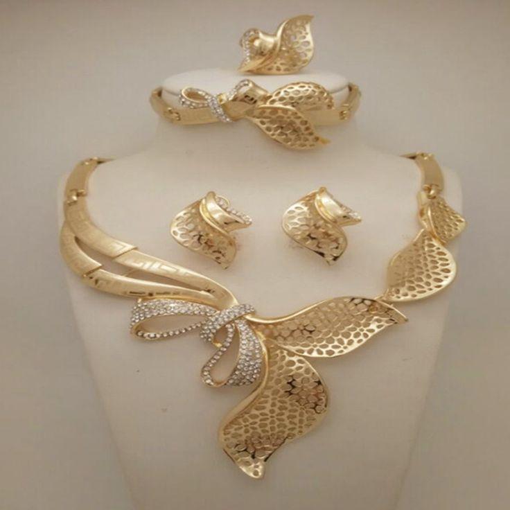 Высокое Качество Мода Нигерийские Свадебные Африканские Бусы Ювелирные Наборы Дубай Позолоченные Ювелирные Наборы Костюм Романтический Долго Дизайн