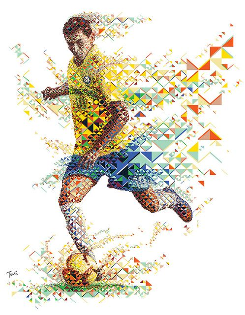A fractal mosaic portrait of the Brazilian footballer Paulo Henrique Ganso for Gatorade Evoluciona advertising campaign.  - Charis Tsevis