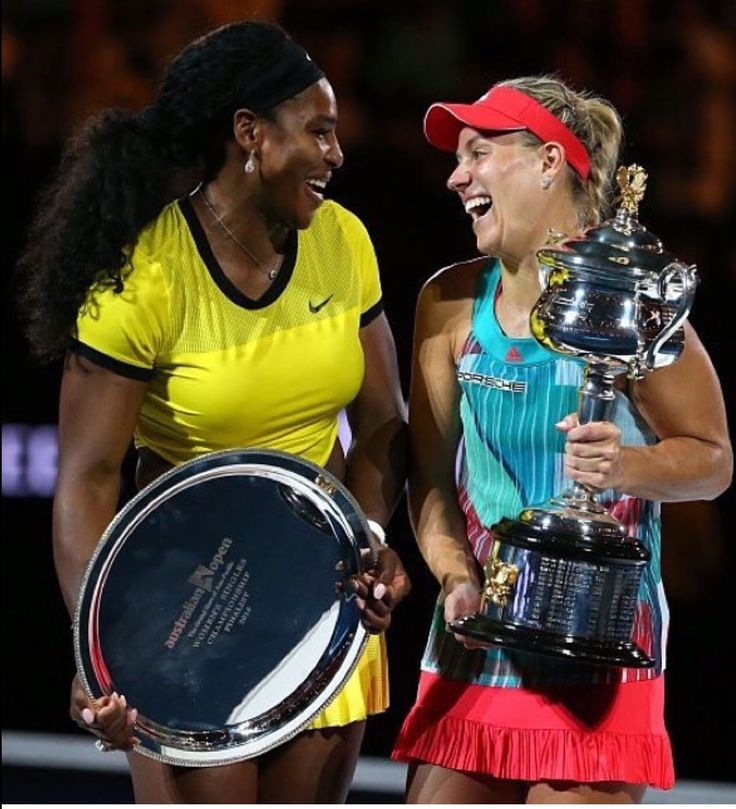Serena Williams and Angelique Kerber airing the award ceremony. Australian Open 2016