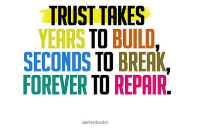 Yup! Thats why I ended my last relationship, no trust!!! I have finally found someone who I can trust with all my heart. You can't have a healthy relationship if there is no trust!