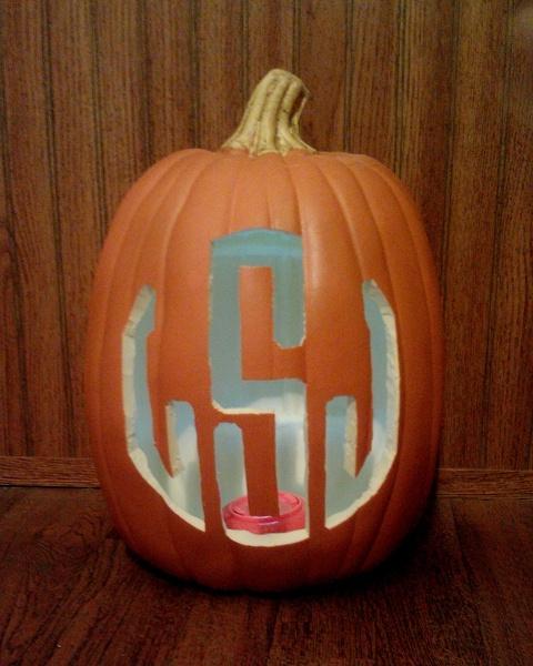 monogrammed pumpkin.