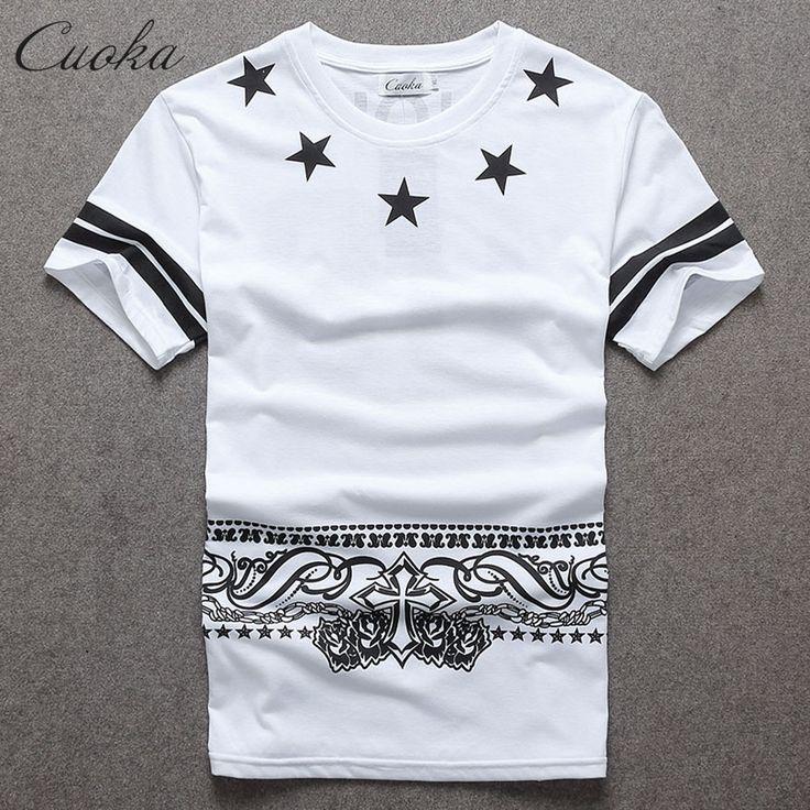 Cuoka Men's T-shirt Hip Hop T Shirt Men Short Sleeve Star Pyrex Skate Tops Tees HBA 09 Swag Brand Clothing Free Shipping #Affiliate