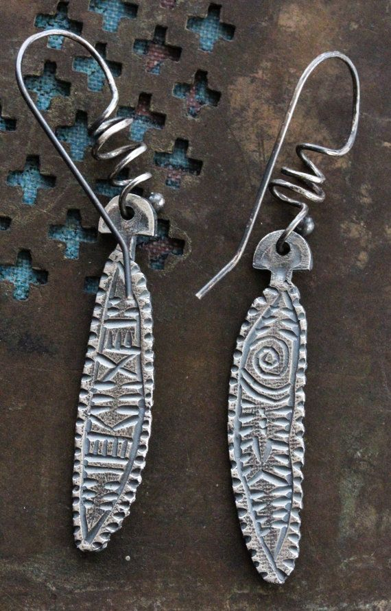 Silver Carved Texture Earrings by celiefago on Etsy