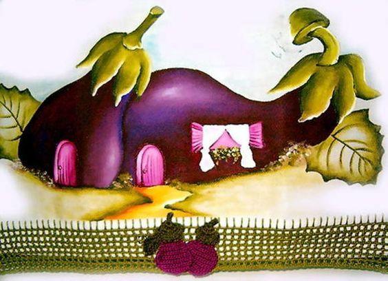 pintura em tecido casinhas de frutas - Pesquisa Google:
